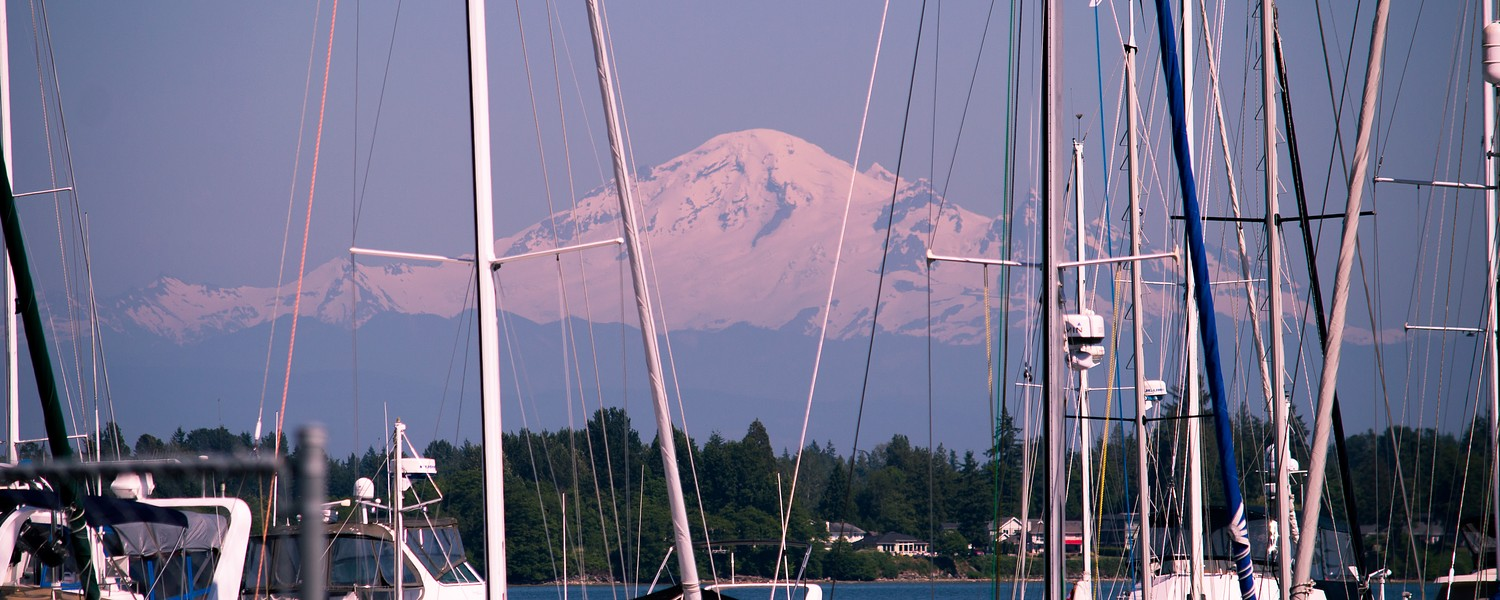 A view of Mt. Baker from Semiahmoo marina in Blaine, Washington