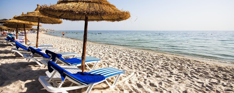 Beach with sunbeds in Tunisia