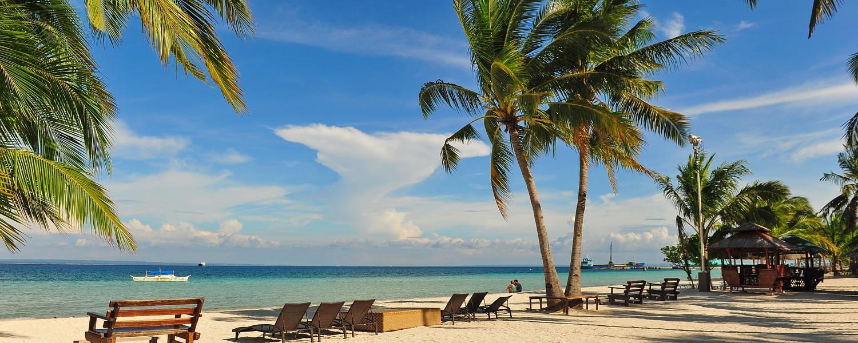 Beautiful beach resort along the coast of Bantayan Island, Cebu