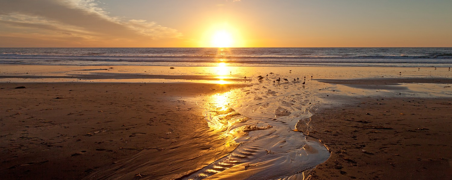 Sunset on the beach at Carlsbad, California