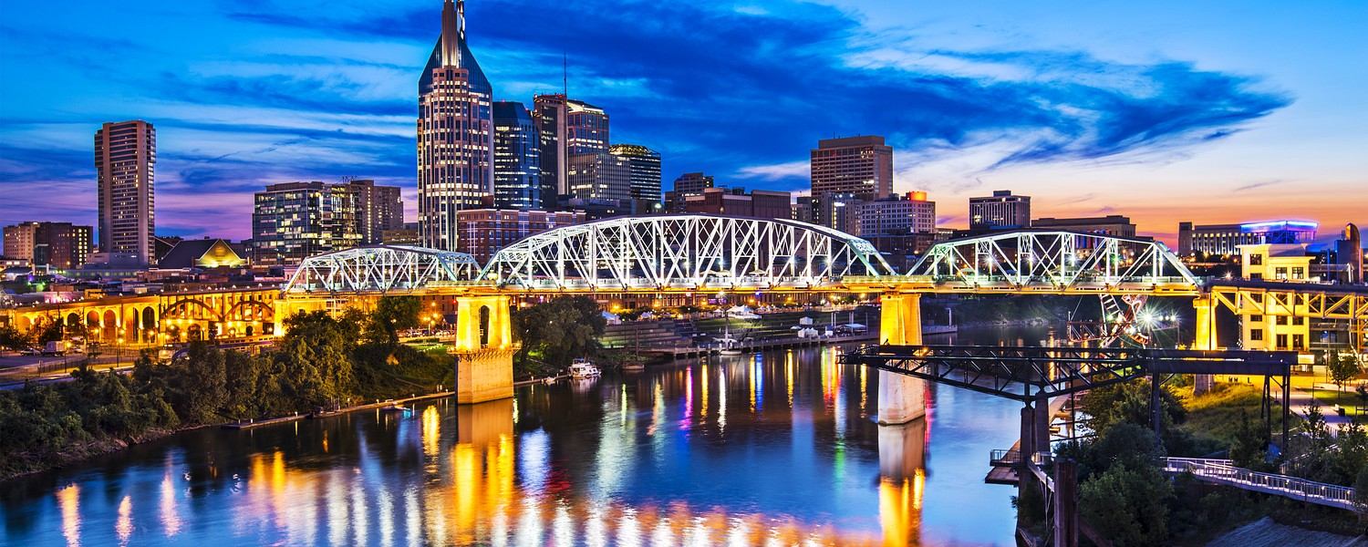 Nashville, Tennessee downtown skyline at Shelby Street Bridge.