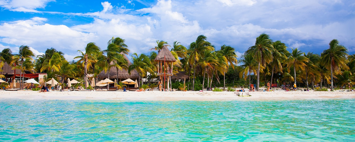 Norten beach on colorful Isla Mujeres island near Cancun in Mexico. Latin America.