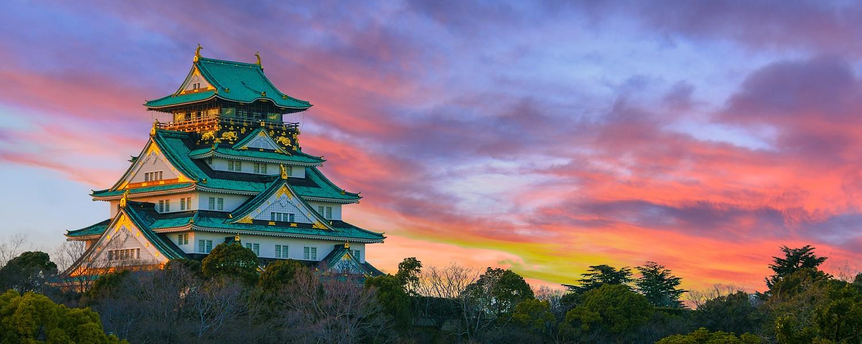 Beautiful Sunset Image of Osaka Castle in Osaka, Japan