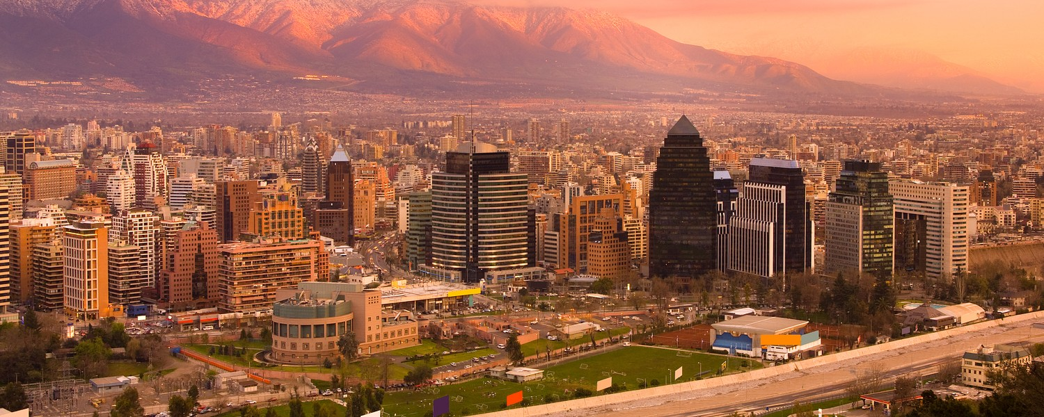Panoramic view of Las Condes and Providencia districts, Santiago, Chile, South America