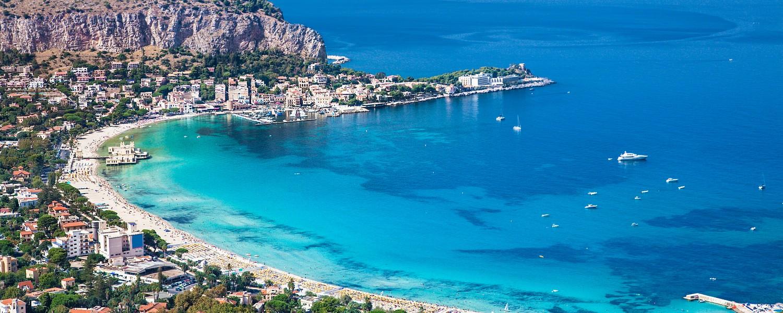 Panoramic view on Mondello white sand beach in Palermo, Sicily. Italy.