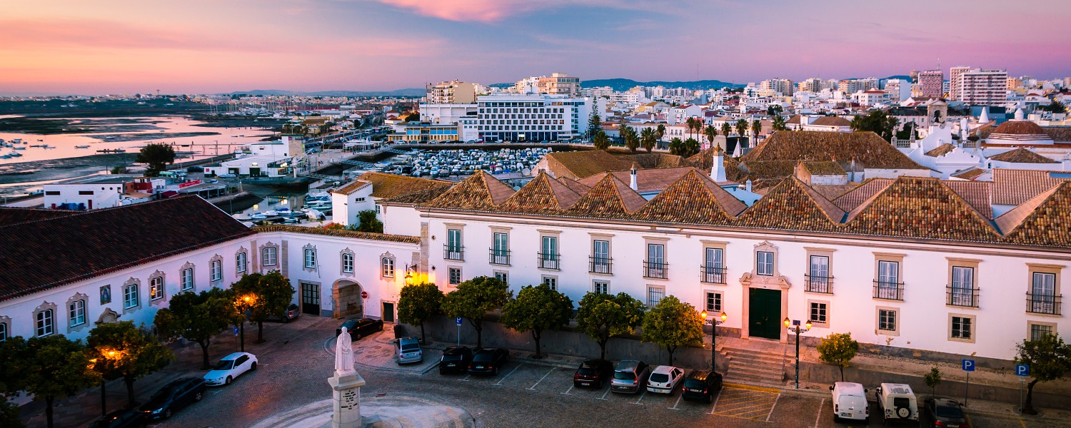 Beautiful sunset view over Faro town in Portugal