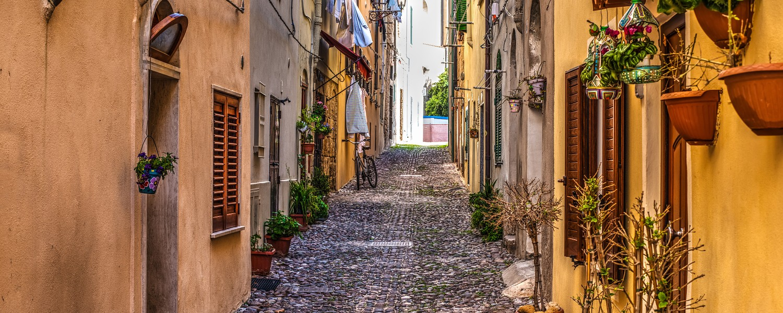 street in Alghero old town, Italy