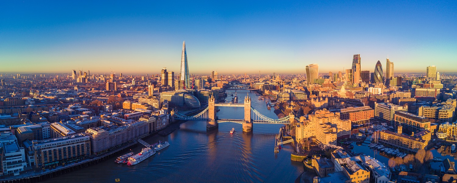 Aerial panoramic cityscape view of London.