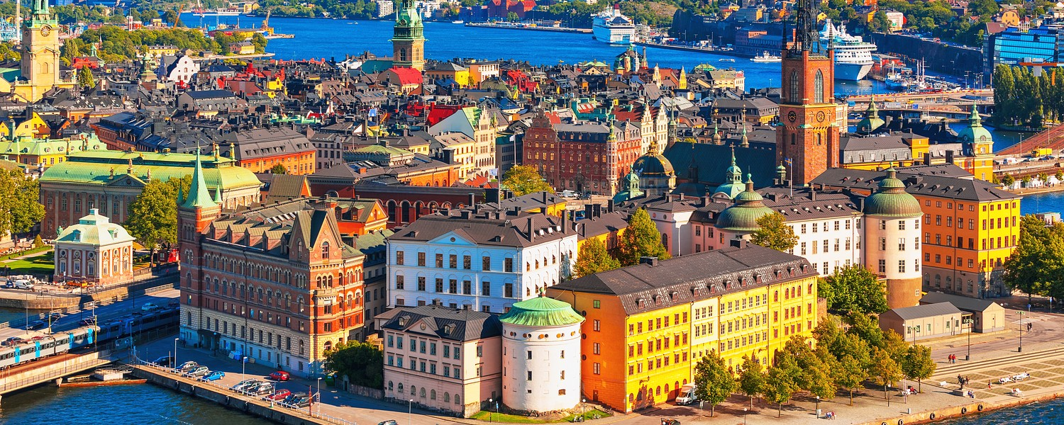 Scenic summer aerial panorama of the Old Town, Stockholm
