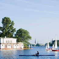 Paddling on the Alster lake