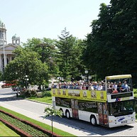 Open-top bus sightseeing tour